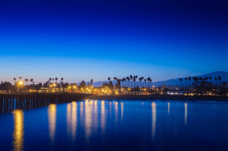 Santa Barbara coastline at night